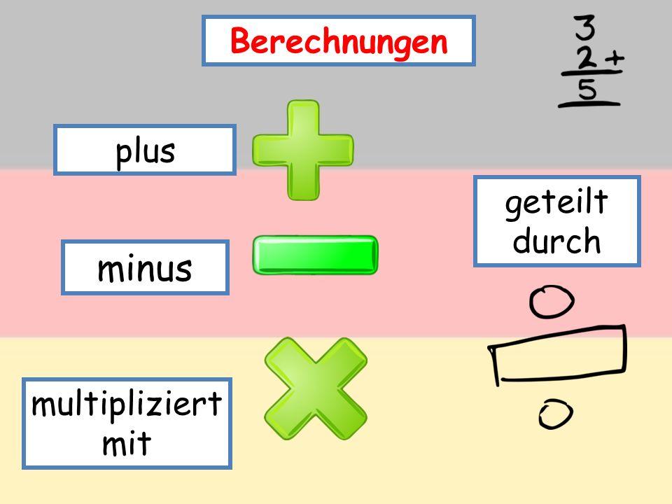 Berechnungen plus geteilt durch minus multipliziert mit