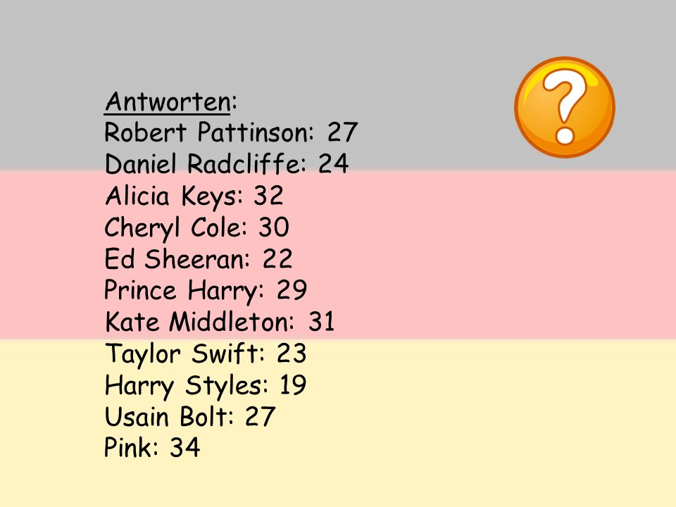 Antworten: Robert Pattinson: 27. Daniel Radcliffe: 24. Alicia Keys: 32. Cheryl Cole: 30. Ed Sheeran: 22.