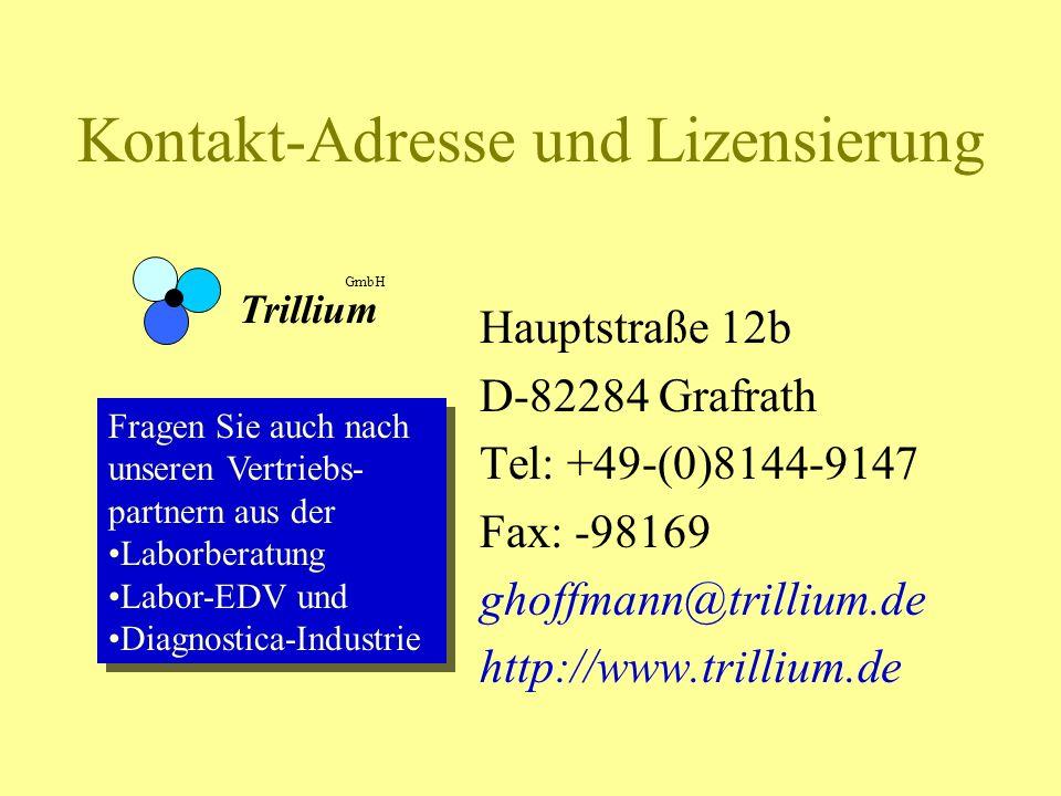 Kontakt-Adresse und Lizensierung