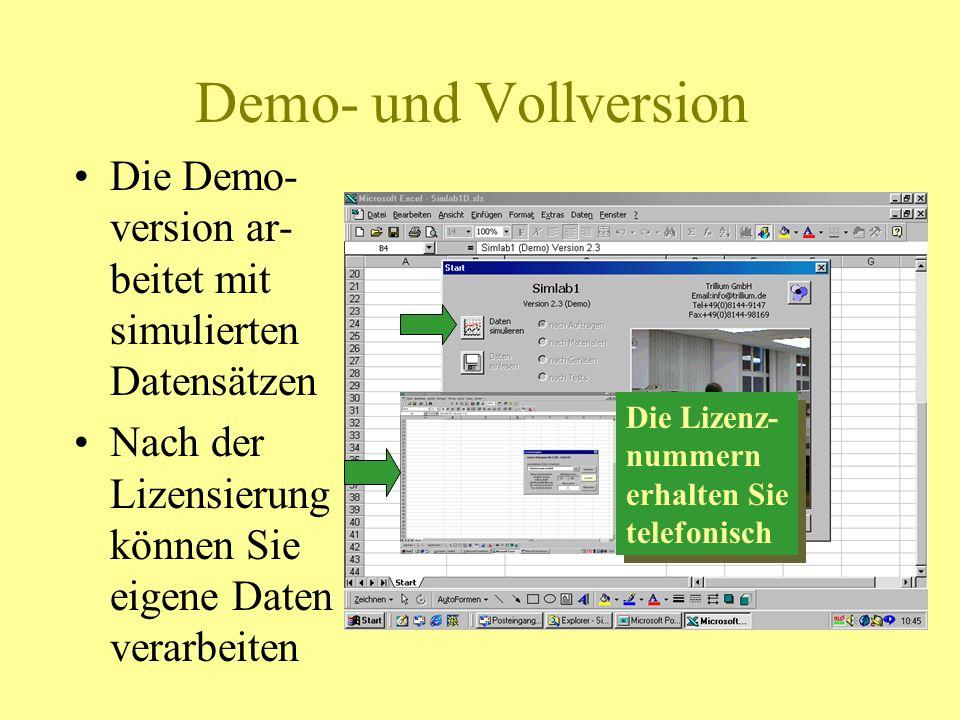 Demo- und Vollversion Die Demo-version ar-beitet mit simulierten Datensätzen. Nach der Lizensierung können Sie eigene Daten verarbeiten.