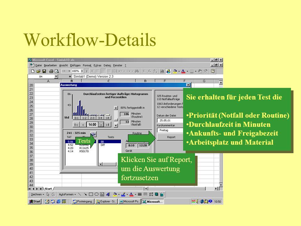 Workflow-Details Sie erhalten für jeden Test die