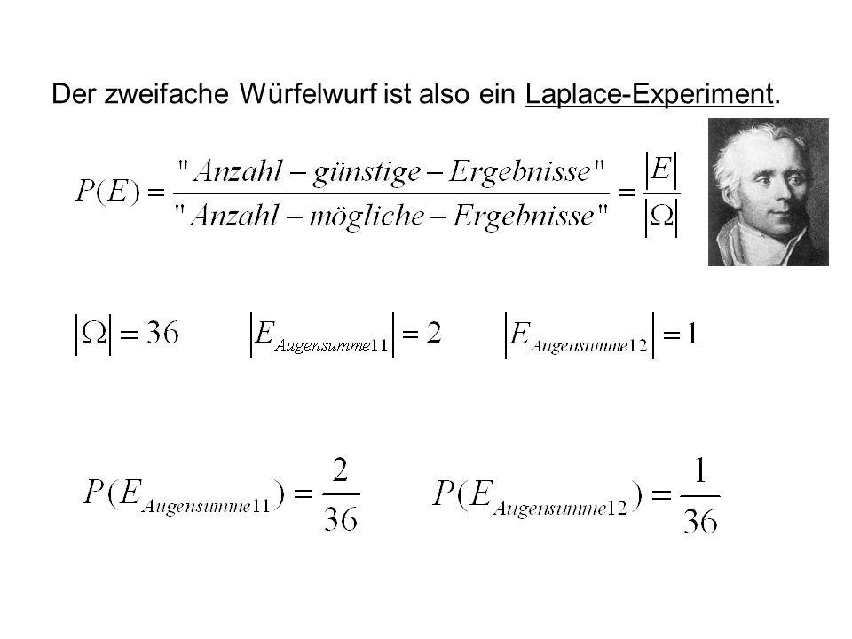 Der zweifache Würfelwurf ist also ein Laplace-Experiment.