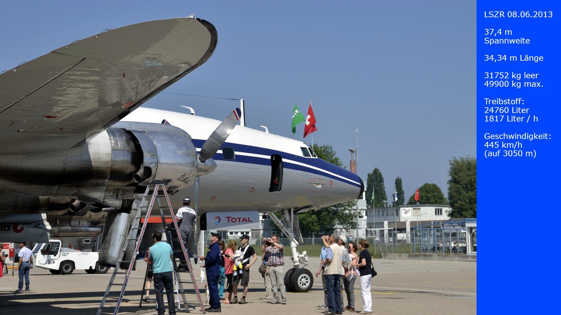 LSZR 08.06.2013 37,4 m Spannweite. 34,34 m Länge. 31752 kg leer. 49900 kg max. Treibstoff: 24760 Liter.