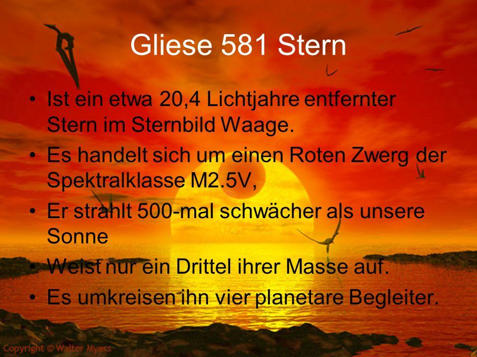 Gliese 581 Stern Ist ein etwa 20,4 Lichtjahre entfernter Stern im Sternbild Waage. Es handelt sich um einen Roten Zwerg der Spektralklasse M2.5V,