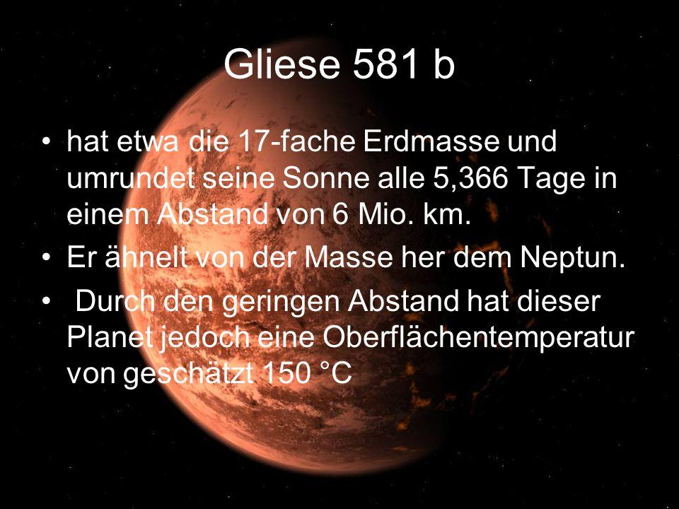 Gliese 581 b hat etwa die 17-fache Erdmasse und umrundet seine Sonne alle 5,366 Tage in einem Abstand von 6 Mio. km.