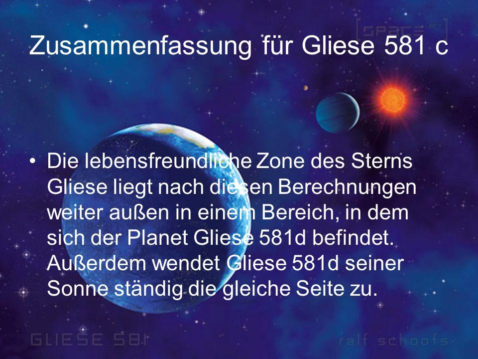 Zusammenfassung für Gliese 581 c