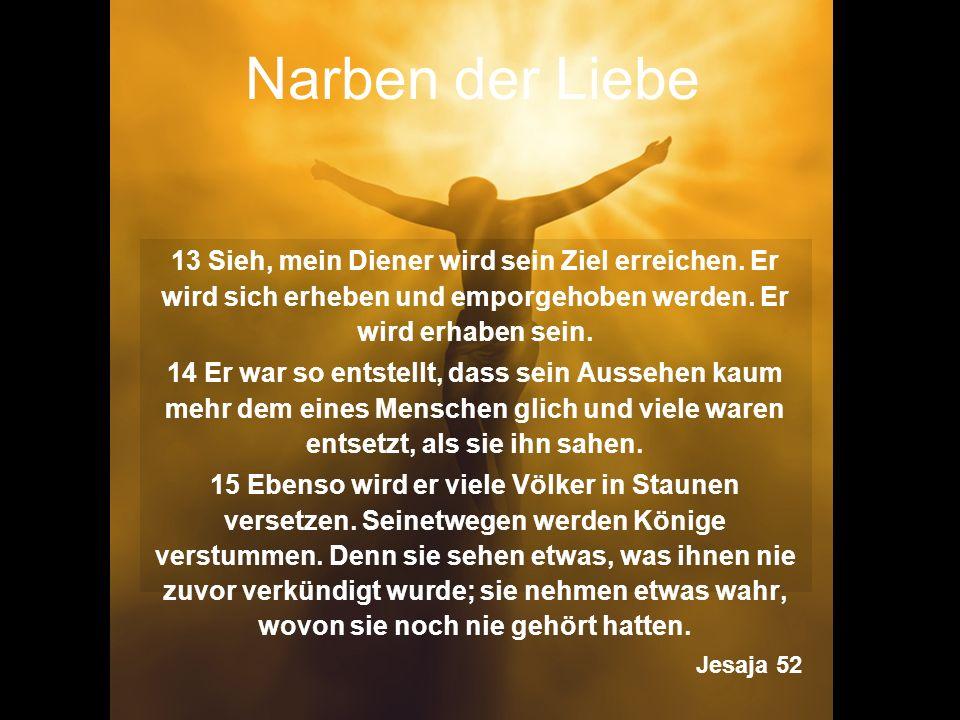Narben der Liebe 13 Sieh, mein Diener wird sein Ziel erreichen. Er wird sich erheben und emporgehoben werden. Er wird erhaben sein.