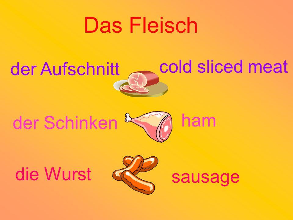 Das Fleisch cold sliced meat der Aufschnitt ham der Schinken die Wurst