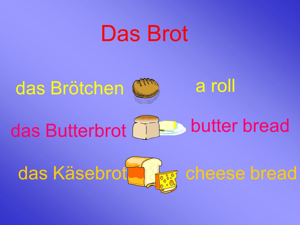 Das Brot a roll das Brötchen butter bread das Butterbrot das Käsebrot