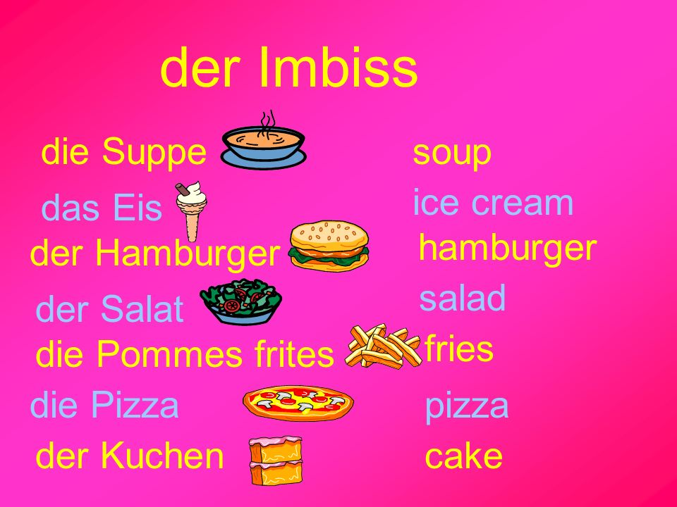 der Imbiss die Suppe soup ice cream das Eis hamburger der Hamburger