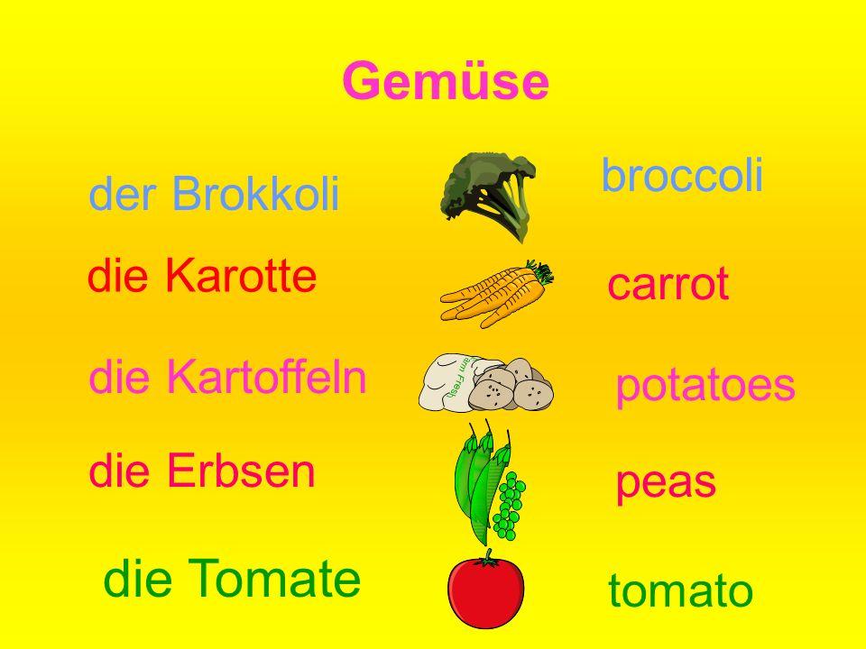 Gemüse die Tomate broccoli der Brokkoli die Karotte carrot