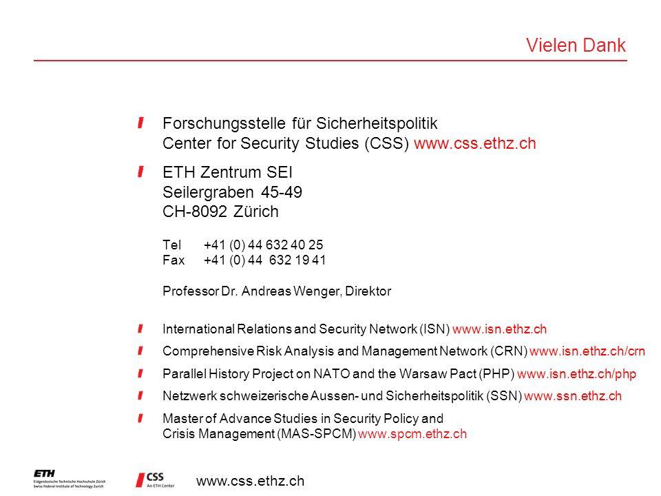 Vielen Dank Forschungsstelle für Sicherheitspolitik Center for Security Studies (CSS) www.css.ethz.ch.