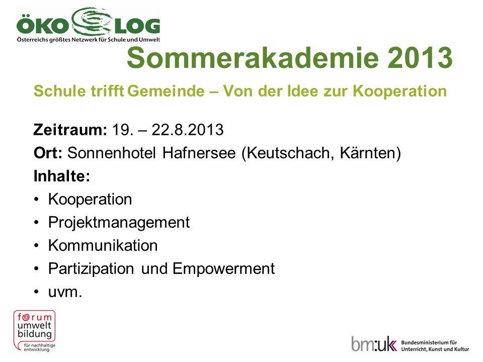 Sommerakademie 2013 Schule trifft Gemeinde – Von der Idee zur Kooperation. Zeitraum: 19. – 22.8.2013.