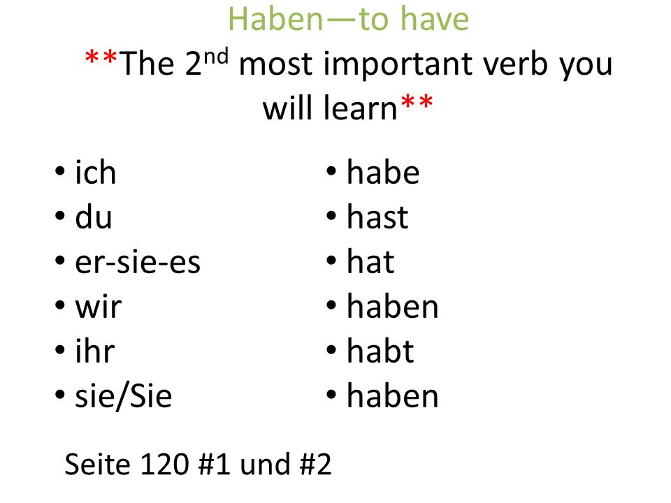 Haben—to have **The 2nd most important verb you will learn**