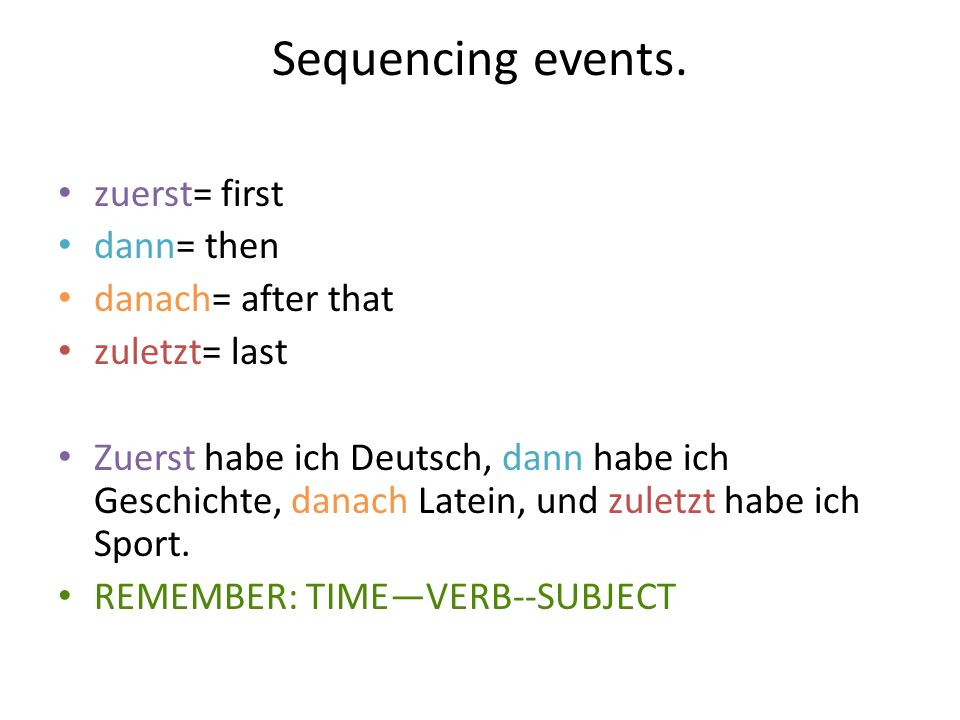 Sequencing events. zuerst= first dann= then danach= after that