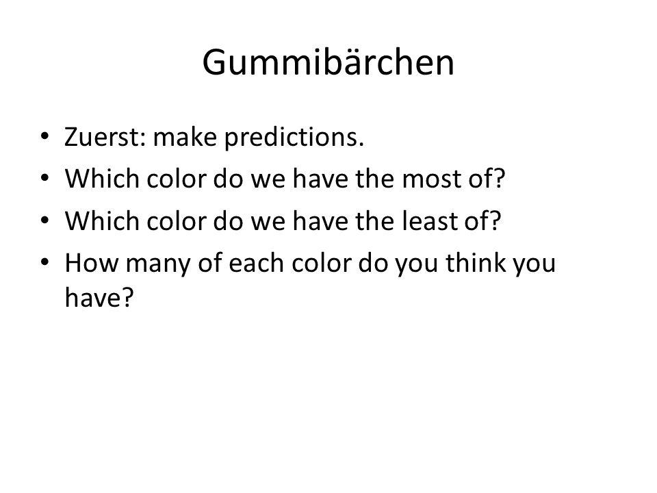 Gummibärchen Zuerst: make predictions.