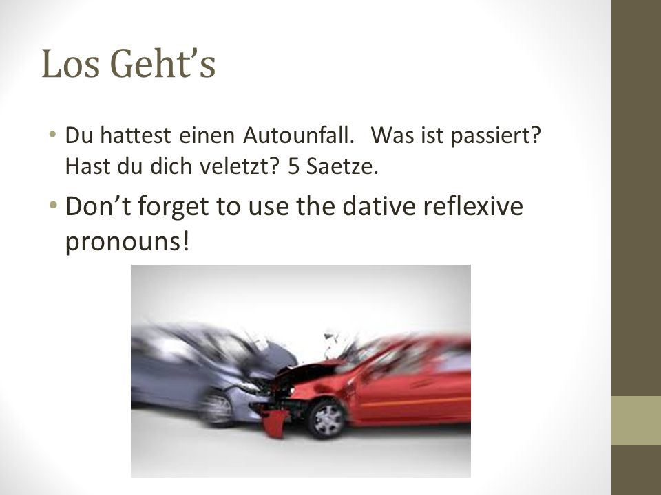 Los Geht's Don't forget to use the dative reflexive pronouns!