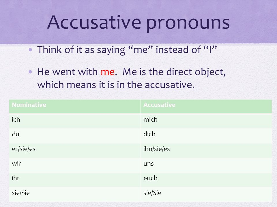 Accusative pronouns Think of it as saying me instead of I