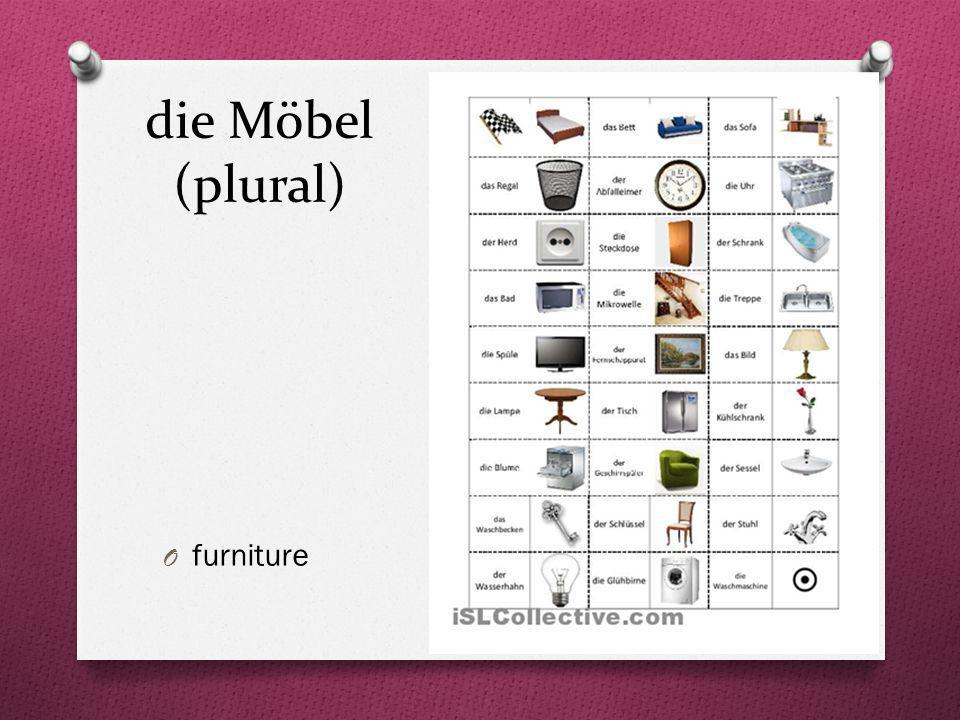 die Möbel (plural) furniture