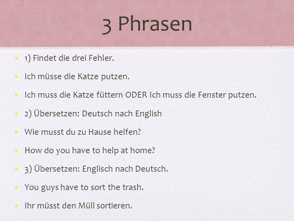 3 Phrasen 1) Findet die drei Fehler. Ich müsse die Katze putzen.