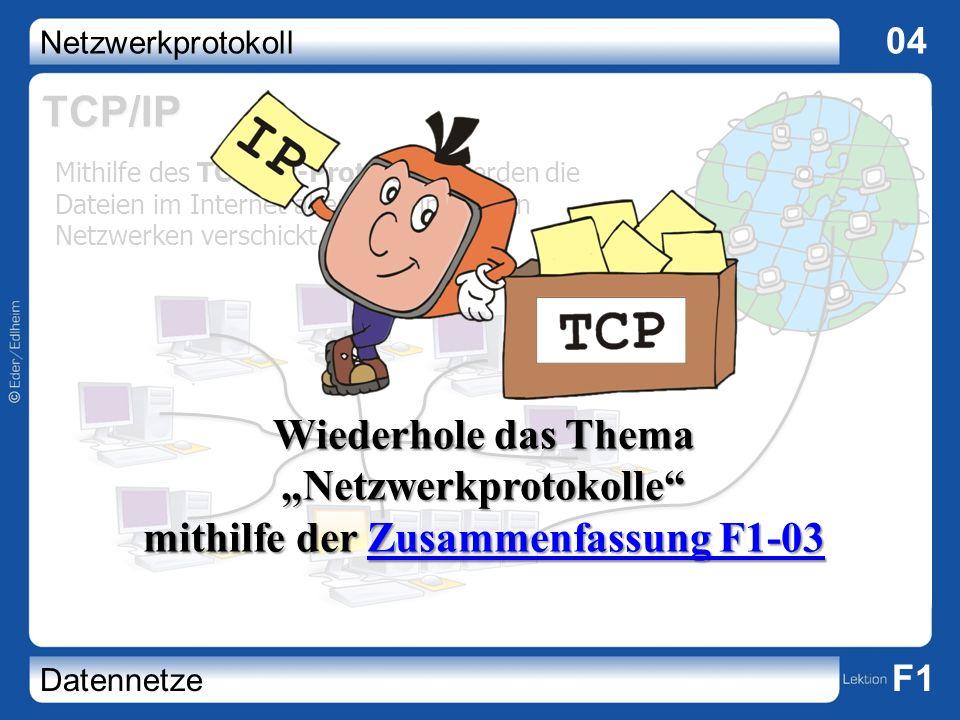 """TCP/IP Wiederhole das Thema """"Netzwerkprotokolle mithilfe der Zusammenfassung F1-03."""