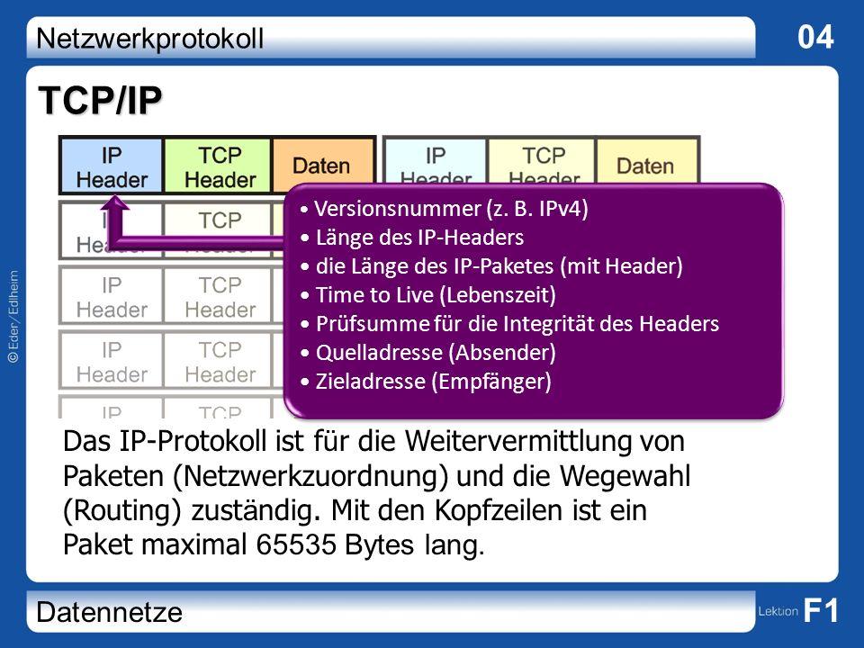 TCP/IP Versionsnummer (z. B. IPv4) Länge des IP-Headers. die Länge des IP-Paketes (mit Header) Time to Live (Lebenszeit)