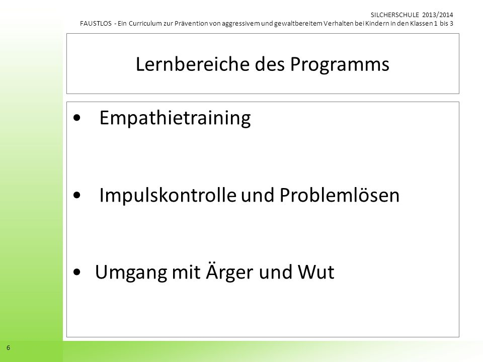 Lernbereiche des Programms
