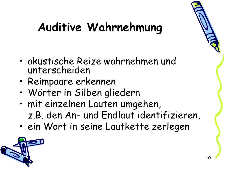 Auditive Wahrnehmung akustische Reize wahrnehmen und unterscheiden