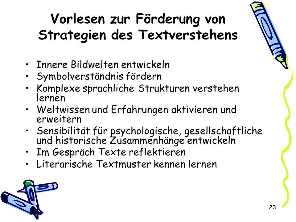 Vorlesen zur Förderung von Strategien des Textverstehens