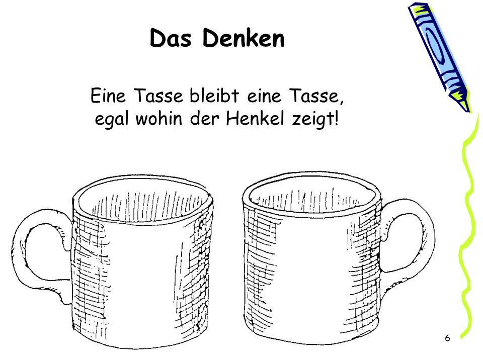 Das Denken Eine Tasse bleibt eine Tasse, egal wohin der Henkel zeigt!