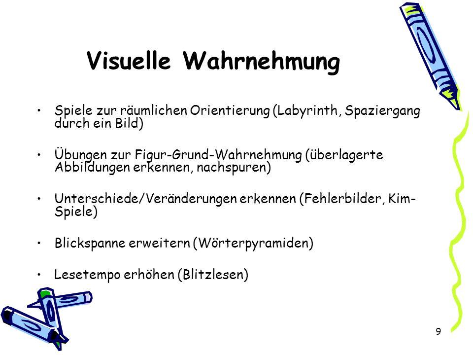 Visuelle Wahrnehmung Spiele zur räumlichen Orientierung (Labyrinth, Spaziergang durch ein Bild)