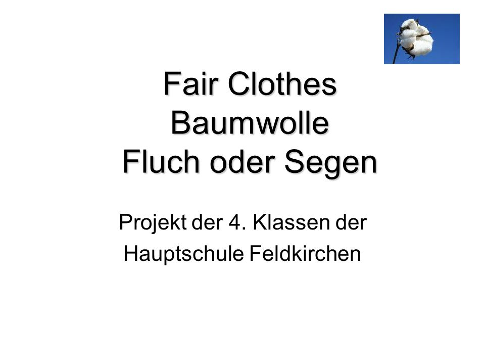 Fair Clothes Baumwolle Fluch oder Segen