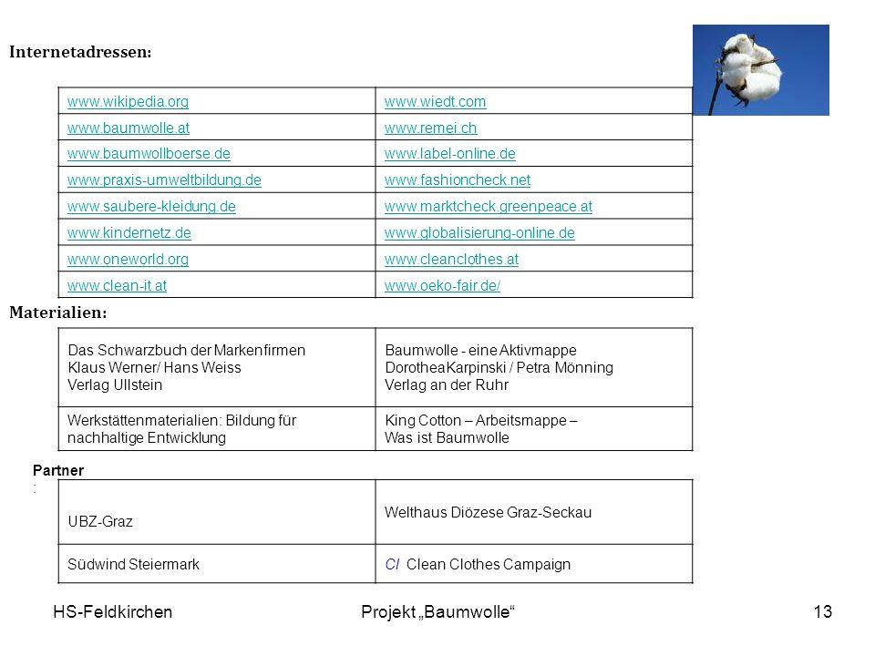 "Internetadressen: Materialien: HS-Feldkirchen Projekt ""Baumwolle"