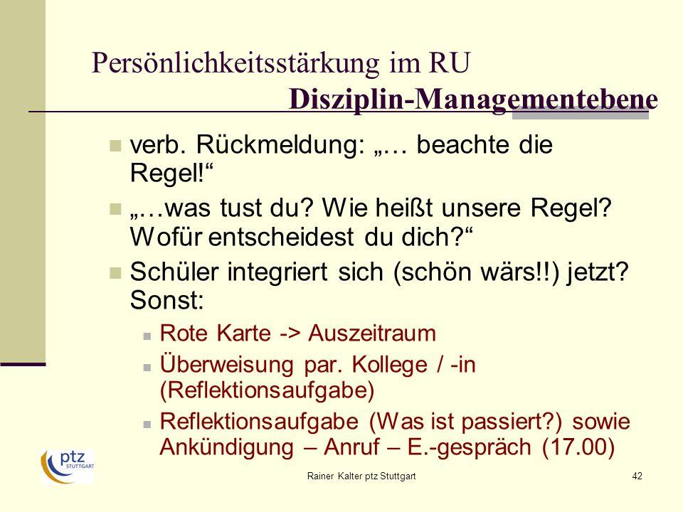 Persönlichkeitsstärkung im RU Disziplin-Managementebene