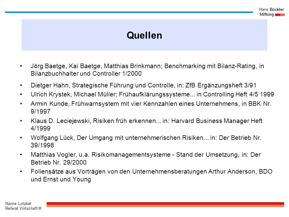 Quellen Jörg Baetge, Kai Baetge, Matthias Brinkmann; Benchmarking mit Bilanz-Rating, in Bilanzbuchhalter und Controller 1/2000.
