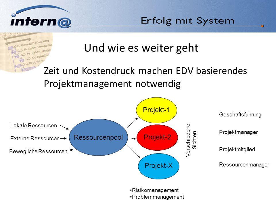 Und wie es weiter geht Zeit und Kostendruck machen EDV basierendes Projektmanagement notwendig. Ressourcenpool.