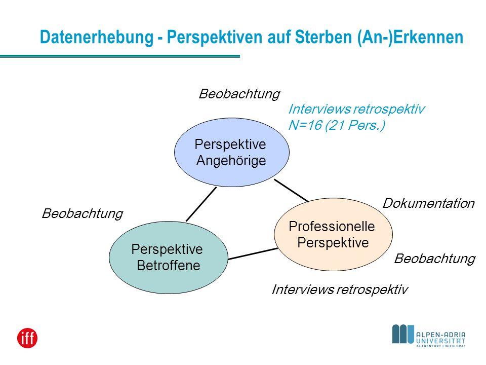 Datenerhebung - Perspektiven auf Sterben (An-)Erkennen