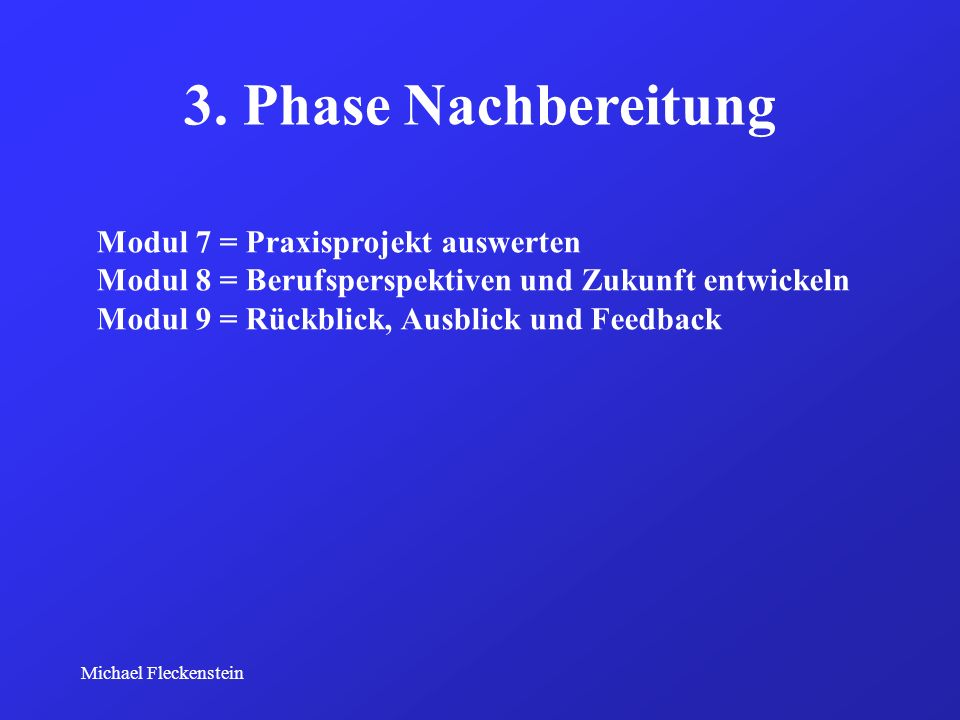 3. Phase Nachbereitung Modul 7 = Praxisprojekt auswerten