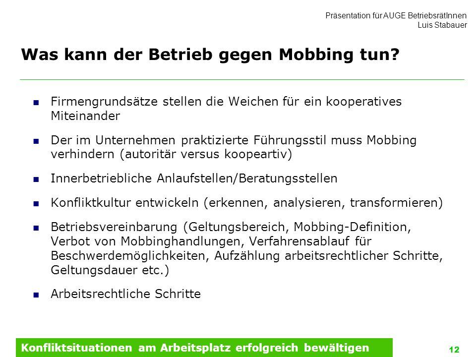 Was kann der Betrieb gegen Mobbing tun