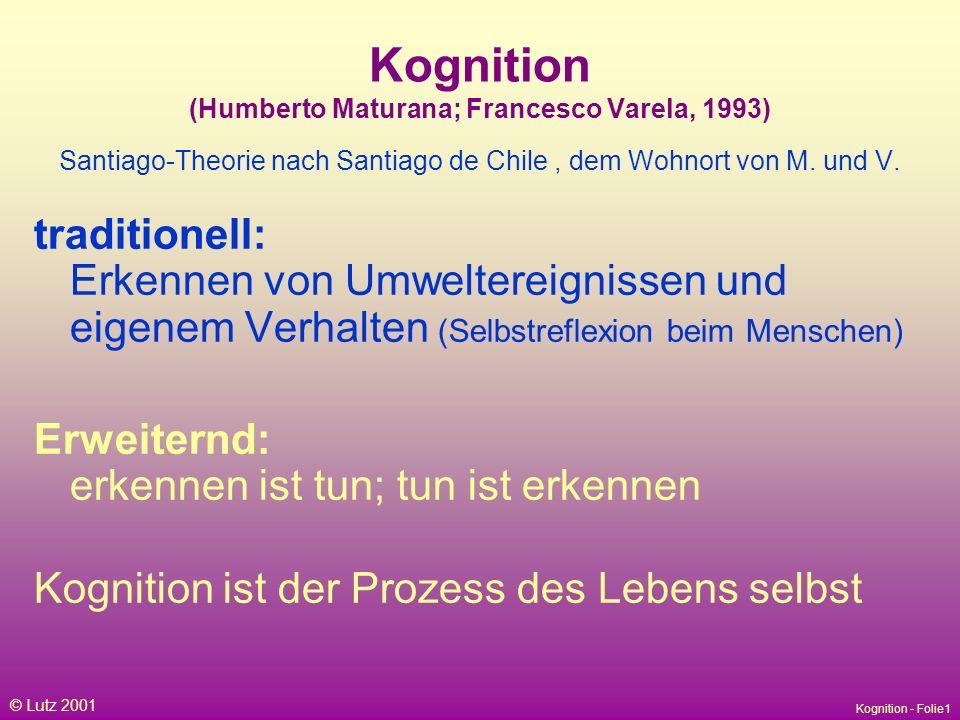 Kognition (Humberto Maturana; Francesco Varela, 1993) Santiago-Theorie nach Santiago de Chile , dem Wohnort von M. und V.