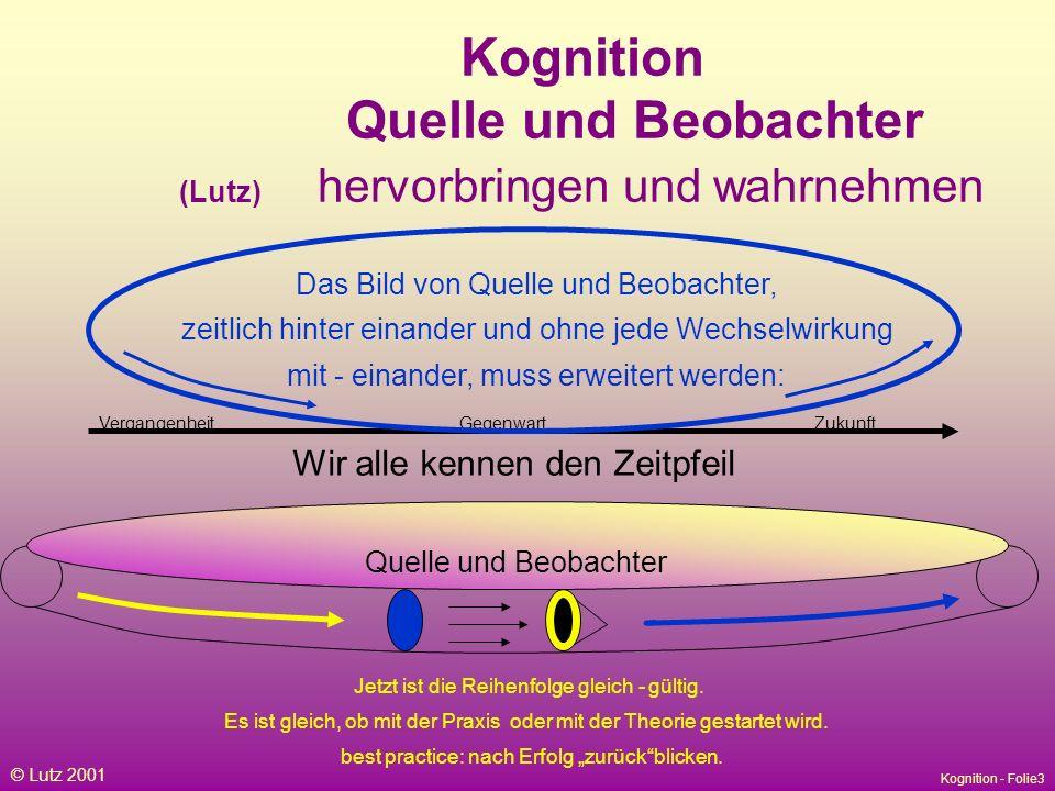 Kognition Quelle und Beobachter (Lutz) hervorbringen und wahrnehmen