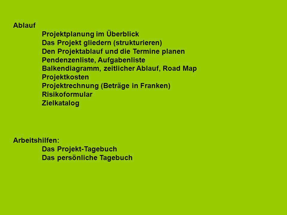 Ablauf Projektplanung im Überblick. Das Projekt gliedern (strukturieren) Den Projektablauf und die Termine planen.