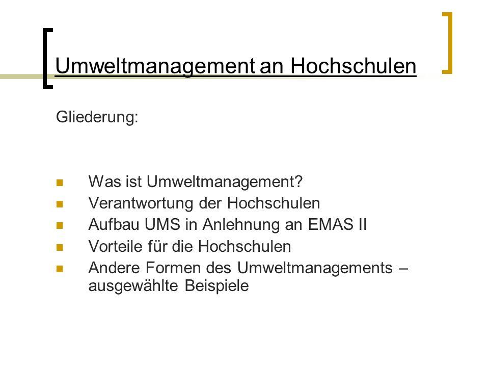 Umweltmanagement an Hochschulen