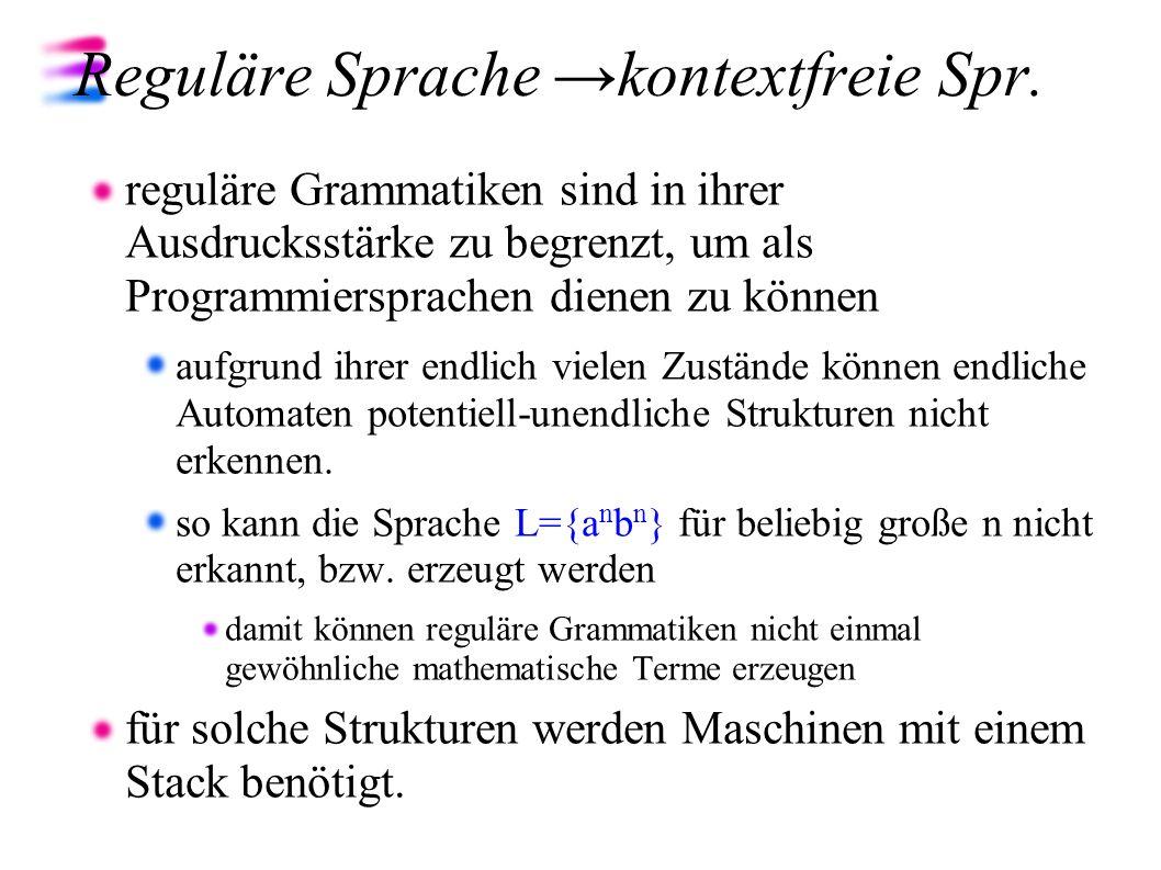 Reguläre Sprache →kontextfreie Spr.
