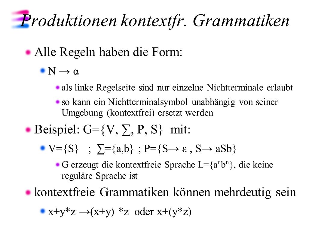 Produktionen kontextfr. Grammatiken