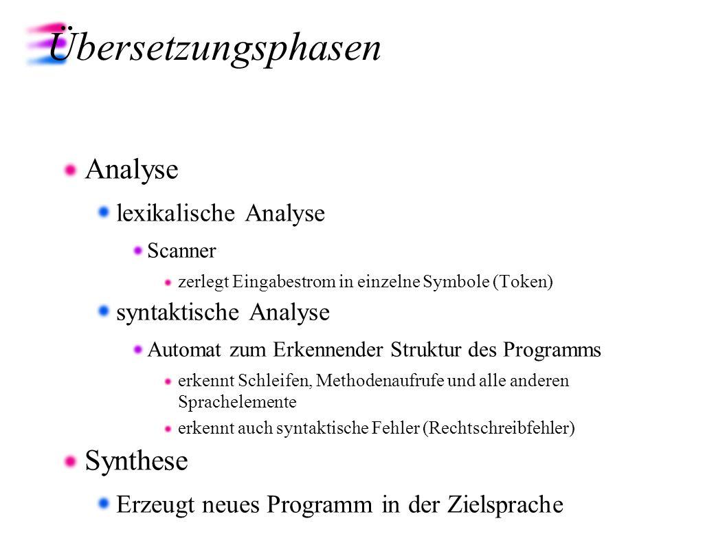 Übersetzungsphasen Analyse Synthese lexikalische Analyse