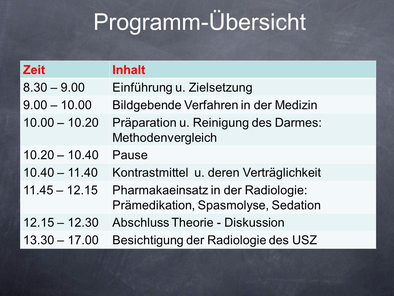Programm-Übersicht Zeit Inhalt 8.30 – 9.00 Einführung u. Zielsetzung