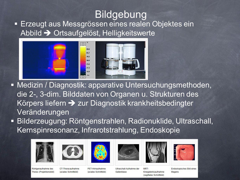 Bildgebung Erzeugt aus Messgrössen eines realen Objektes ein Abbild  Ortsaufgelöst, Helligkeitswerte.