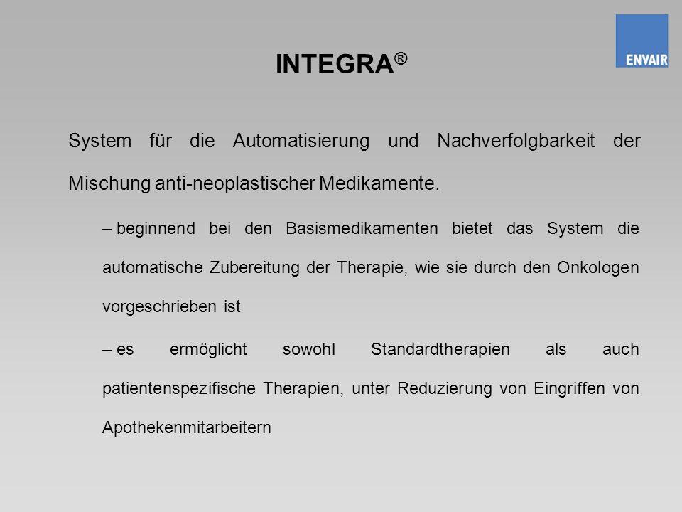 INTEGRA® System für die Automatisierung und Nachverfolgbarkeit der Mischung anti-neoplastischer Medikamente.