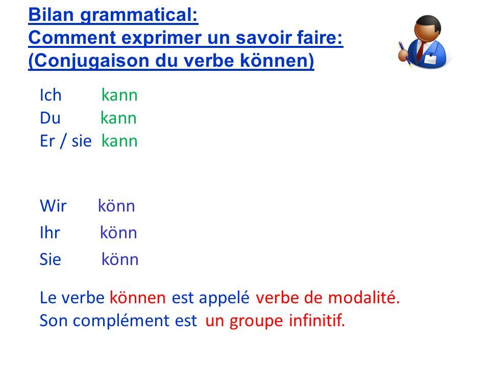 Bilan grammatical: Comment exprimer un savoir faire: (Conjugaison du verbe können) en. Ich kann.